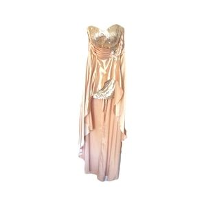 2/$40 NWOT Champagne Strapless Sequined Mini High Low XXL